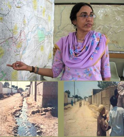 Parveen Rehman as she appeared in NPR's story about her, top, and a before and after set of photos from installation of a sewer line from the Orangi Pilot Project website, bottom.