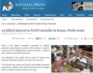Partial screen-grab of the Khaama Press article confirming eleven children were killed in the April 6 NATO air strike in Kunar province. Various reports of the strike include this image as well as other photos taken from slightly different angles of the same group of victims.
