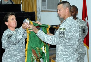 John Bogdan as his 95th Military Police Battalion assumed command of Forward Operating Base Rustimayah in Baghdad in November, 2001.
