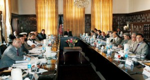 Karzai addressing his cabinet. Photo is from the web posting of Karzai's statement on the Bilateral Security Agreement.