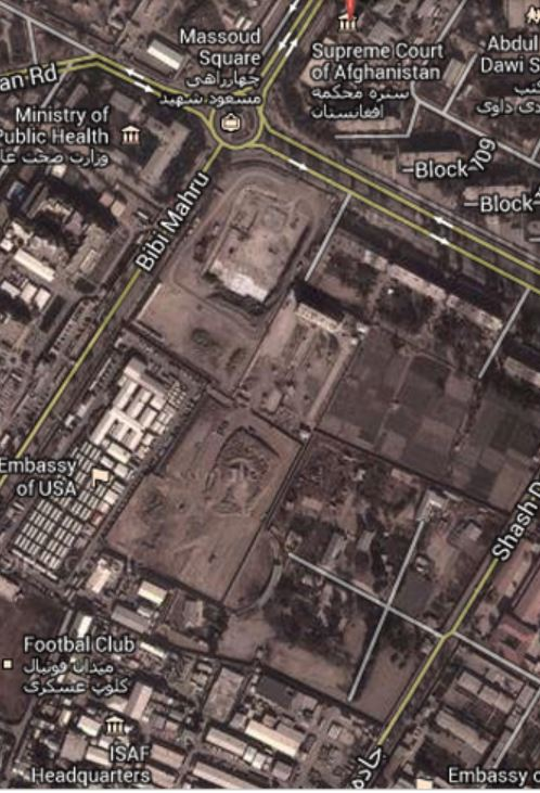 Screen capture of the location of Kabul's Supreme Court building, showing both the US Embassy and ISAF headquarters nearby.