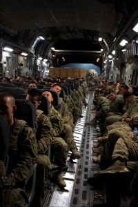 A C-17 configured to carry troops being redeployed out of Bagram. (DVIDS)