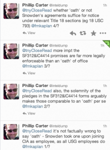 Phillip Carter's tweets about Edward Snowden