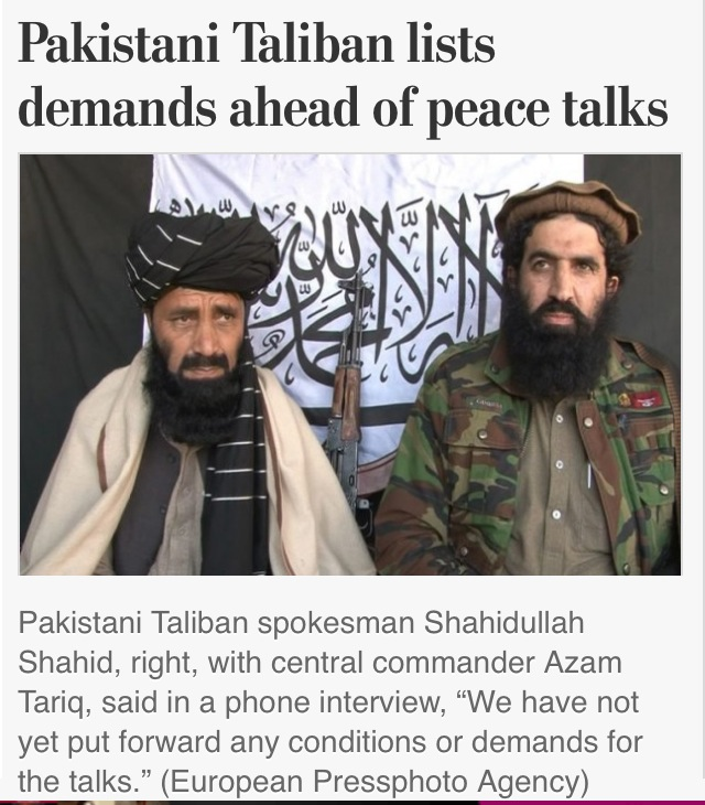 Did they or didn't they? Washington Post headline says Taliban presented list of demands, photo caption says they didn't.