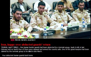 A photo posted yesterday showing the four released border guards back in Iran.