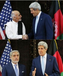 Two photos from Reuters today sum up the status of the Afghan presidential election. Ghani appears confident and ready to work with Kerry, while Abdullah gives Kerry the side eye.