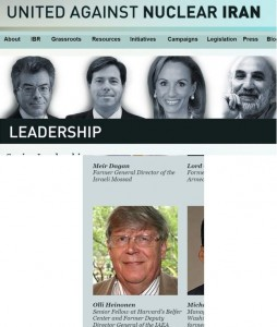 Composite figure of partial screengrabs from the Leadership page for United Against Nuclear Iran showing Heinonen's role as a member of its Advisory Board. Remarkably, Heinonen prefers not to note this role while his spouting his strongest anti-Iran positions.
