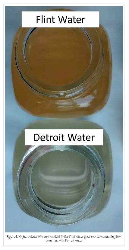 Flint water that has been in the presence of iron for five days takes on a reddish cast while Detroit water does not. Image is Figure 3 found at http://flintwaterstudy.org/2015/08/why-is-it-possible-that-flint-river-water-cannot-be-treated-to-meet-federal-standards/ by Dr. Marc A. Ewards and Siddhartha Roy.