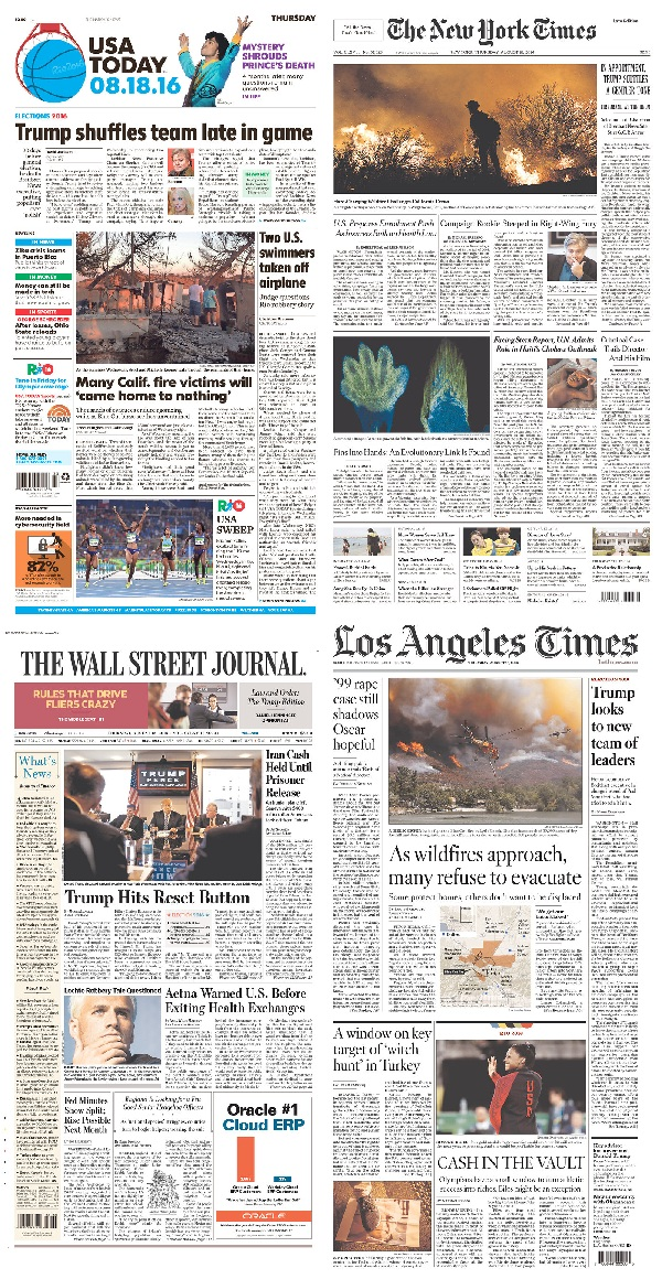 [Today's front pages from USA Today, The New York Times, Wall Street Journal, Los Angeles Times, shared here under Fair Use.]