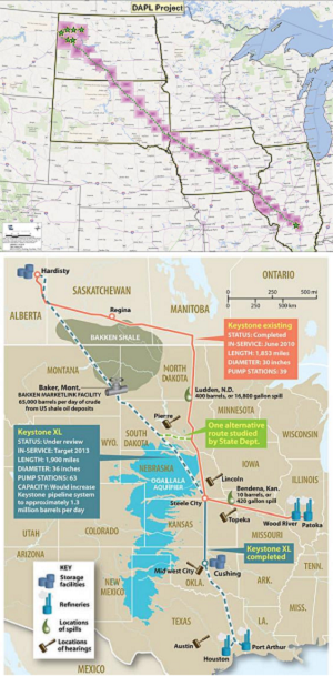 [top: planned Dakota Access pipeline route, via Dakota Access LLC; bottom: Keystone XL pipeline, via Independent-UK]