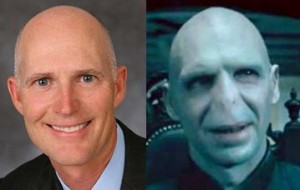 Scott's attempts to look human are hampered by his striking resemblance to Voldemort.