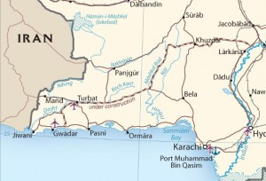 Detail of CIA Pakistan transportation map showing region around Gwadar. Click on map for a larger image.