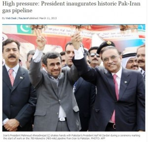 Headline and photo from Pakistan's Express Tribune announcing the pipeline groundbreaking ceremony.