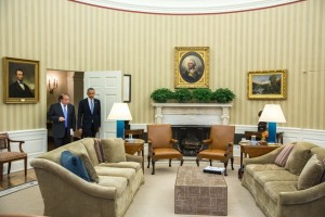 Obama and Sharif enter the Oval Office yesterday.