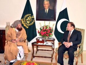 Pakistan's government released this photo of Samiul Haq meeting today with Nawaz Sharif.