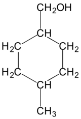 Structure of 4-methylcyclohexane methanol via Wikipedia.
