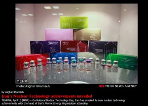 Sample medical isotope packaging on display at this week's National Nuclear Technology Day in Iran. Partial scree-grab from Mehr News.