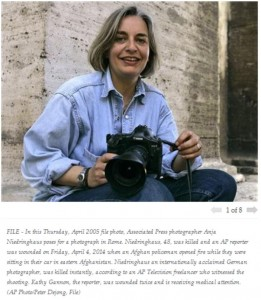 This photo of Niedringhaus accompanies the AP story on her death.