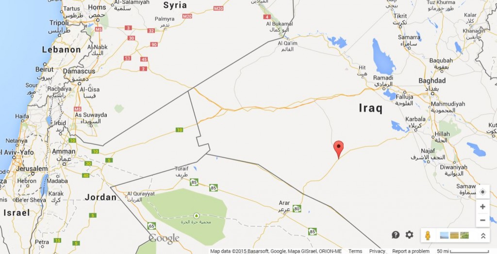 Reuters reports the location of the attack as near the Suweif border station, about 40 km from Arar, Saudi Arabia and 80 km from al-Nukhayb, Iraq (marked by red pin).
