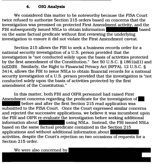 What the Reporting on the Re-Released DOJ IG Report on Section 215