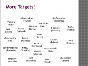 [NSA slide indicated info sec AV firms targeted for surveillance]