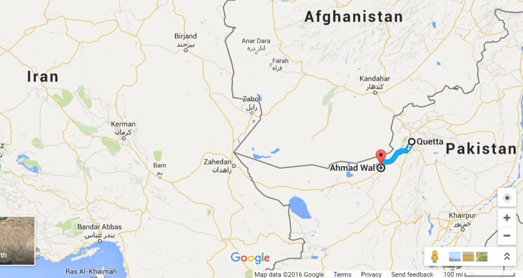 Google map of the region surrounding Ahmed Wal, where Mullah Monsour was killed.