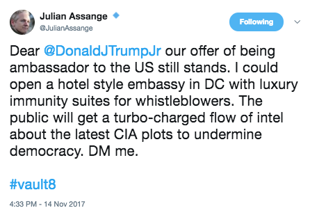 Two Days after Julian Assange Threatened Don Jr, Accused Vault 7 Leaker Joshua Schulte Took to Tor | emptywheel
