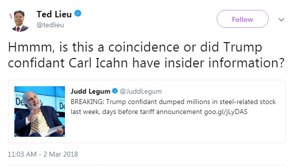 Rep. Ted Lieu (D-CA) tweet