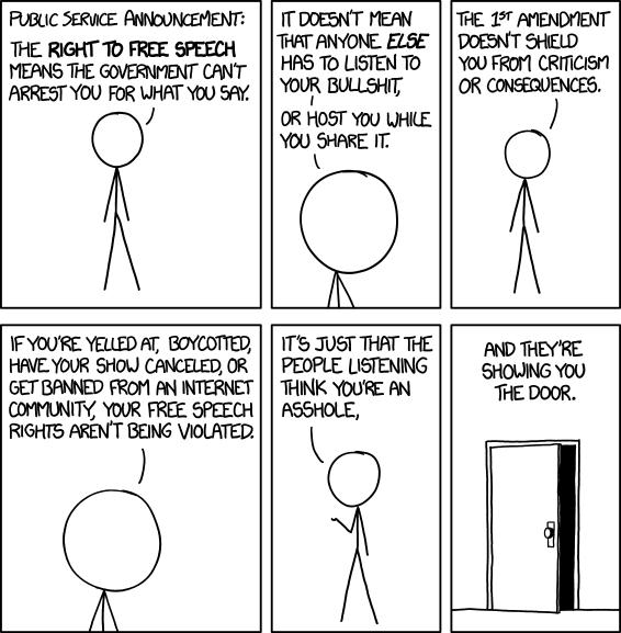 source: xkcd on Free Speech (ep. 1357) https://imgs.xkcd.com/comics/free_speech.png