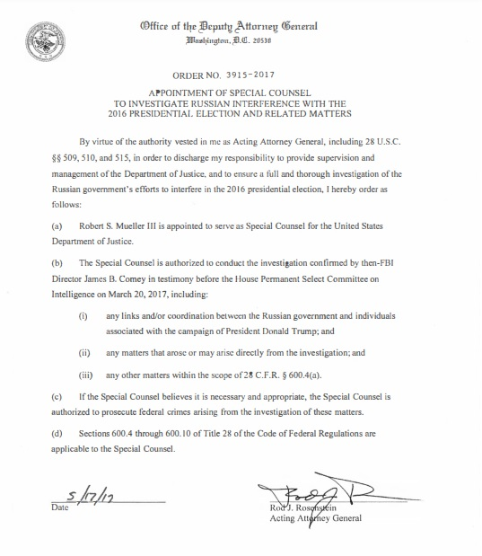 Letter by Rosenstein appointing Mueller to Special Counsel