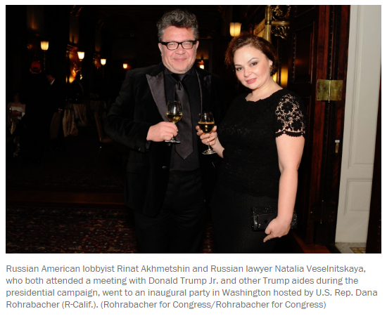 Akhmetsin and Veselnitskaya at Rohrabacher party Jan 2017