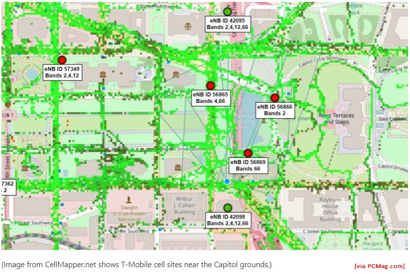 Cell phone traffic around US Capitol complex via CellMapper from PCMag, 07 January 2021